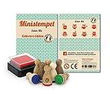 Mini Stempel Eulen - Mix, 8 Stempel mit Stempelkissen, Stemplino