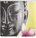Duschvorhang mit Buddhismus Motiv - Bunt 'Buddha' Design ca. 180 x 180 cm - Dusch-Vorhang als Geschenkidee - Grinscard