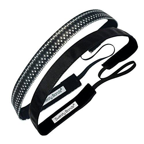 verschwitzten Bands Damen Mädchen Haarband, Anti Rutsch-Samt ausgelegten Fitness Haarband-2er Pack Paparazzi schwarz und solide, schwarz 5/8Zoll -