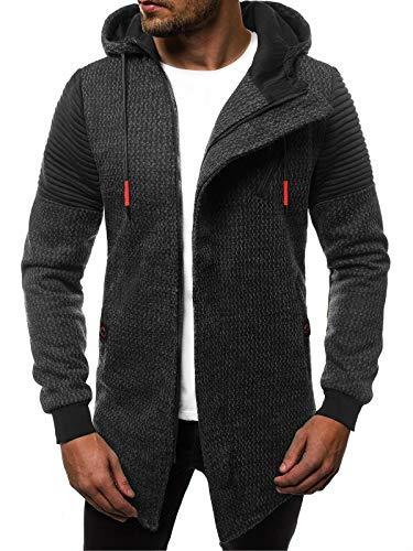 OZONEE Herren Kapuzenpullover Sweatshirt Sweatjacke Strickjacke Sportjacke Pullover Pulli Modern Streetwear 777/2441B SCHWARZ XL (Pullover Strickjacke Für Männer)