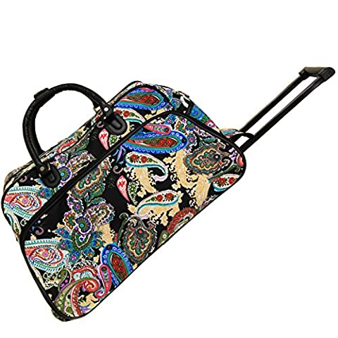 World Traveler 21 Inch Rolling Duffel Bag, Multi Paisley, One Size