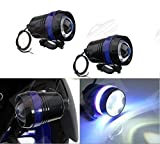 #2: AutoSun U3 Universal Fog Projector Light For All Bikes Black Set Of 2 (Blue)