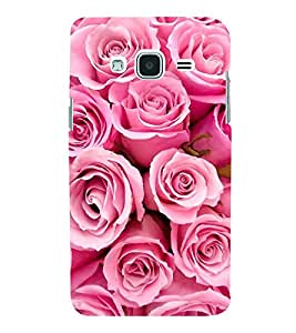 FUSON Abstract Background Pink Roses 3D Hard Polycarbonate Designer Back Case Cover for Samsung Galaxy J3 Pro :: Samsung Galaxy J3 (2017)