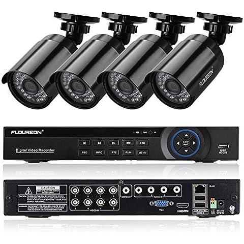 FLOUREON 1 X 8CH AHD 1080N DVR + 4 X 960P 1.3MP 2000TVL Telecamera Videocamera Esterna Sicurezza Sorveglianza Kit