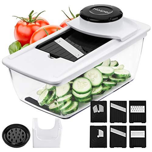 Gemüseschneider Haipei Kartoffelschneider 6 in 1 Mandolinenschneider Gemüsehobel mit 6 austauschbare Klingen und 2 Handschutz für Zwiebel Käse Schokoladen BPA FREE Gutes Geschenk für Kochliebhaber