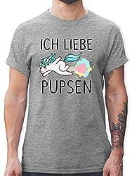 Einhörner - Ich Liebe pupsen Einhorn - M - Grau meliert - L190 - Tshirt Herren und Männer T-Shirts