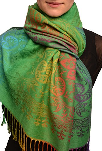 Mirrored Ombre Paisleys On Grass Green Pashmina Feel With Tassels - Gr?n Scarf, Schal Einheitsgroesse (70cm x 180cm) - Green Paisley Schal