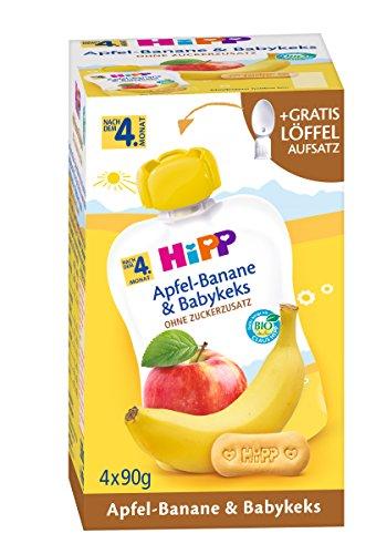 HiPP Frucht und Getreide im Quetschbeutel für Babys Apfel-Banane plus Babykeks, 4 x 90g - Bio