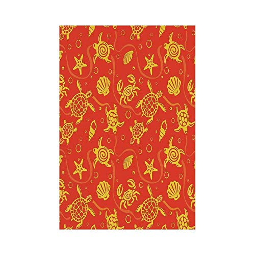 Liumiang Eco-Friendly Manual Custom Garden Flag Demonstration Flag Game Flag,Burnt Orange,Swimming Turtles and Crabs with Shells Bubbles and Starfish Tropical Ninja Decorative,Burnt Orange Yellow d¨¦
