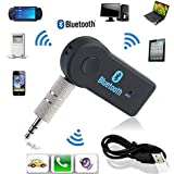 Farraige New Bluetooth Music Audio Stereo Adapter Receiver For Car 3.5mm AUX Home Speaker MP3 For Car Music Sound System Hands Free Calling Built-in Mic - Black