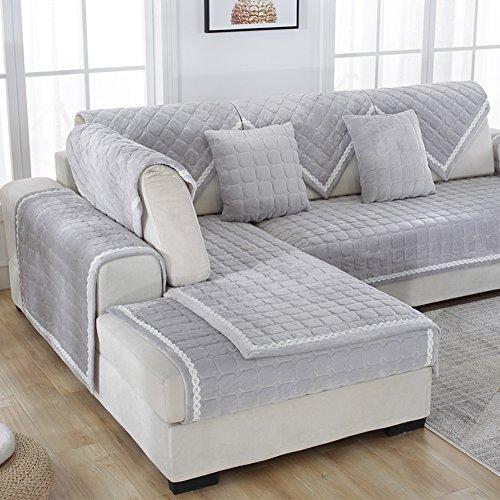 Sofá de felpa color sólido slipcover,Cubierta del sofá moderno y simple de la tela para toalla sofá salón franela grueso terciopelo-B 110x240cm(43x94inch)