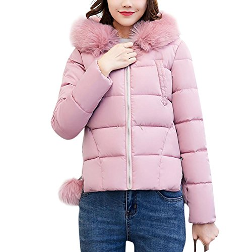 Wintermantel damen Kolylong® Frauen Herbst Winter Warm Mantel mit Kapuze Elegant Dicker Jacke kurz Locker Oversize Parka Outwear Mode Daunenjacke Strickjacke Blazer Kapuzenpullover (Rosa, XXL) (Knit Sweater Tan)