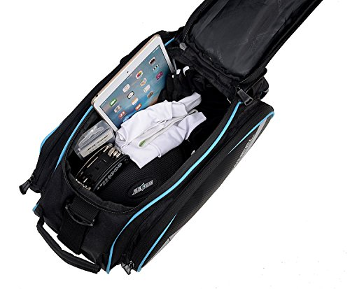 Bicycle Waterproof Rear Seat Trunk Bag with Should Strap, Blue - 3