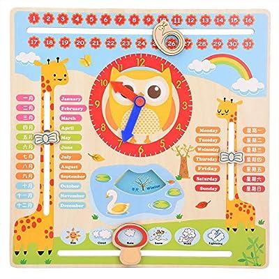 Haofy Educational Reloj de madera Juguete Niños Niños Fecha Calendario Gráfico Preschool Props de aprendizaje para niños Preescolar Educación y aprendizaje Juguete de madera Graduación Regalos para de Haofy