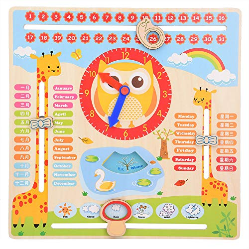 Ftvogue giocattolo di orologio educativo in legno grafico del calendario data per bambini giocattolo di riconoscimento di props di apprendimento prescolare di apprendimento in età prescolare