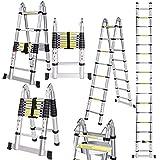 Buyi-World Escalera telescópica 5M en aluminio Carga hasta 150 KG, 16 pasos Escalera plegable portátil plegable de 2,5M * 2,5 M para hogar, oficina, l