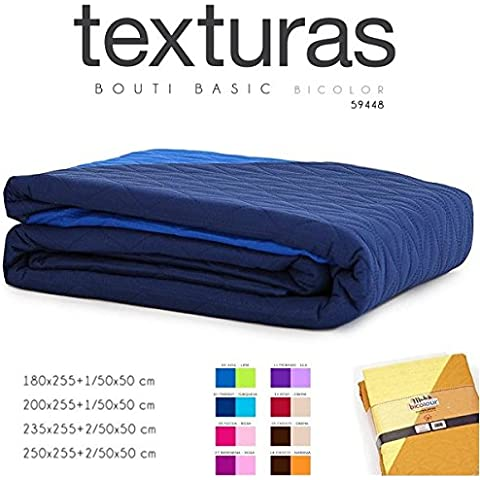 TEXTURAS HOME SECRET- Summer Quilt Bouti Basic BICOLOR Reversible 4 Tamaños ( Varios colores disponibles ) (FUCSIA-ROSA, CAMA