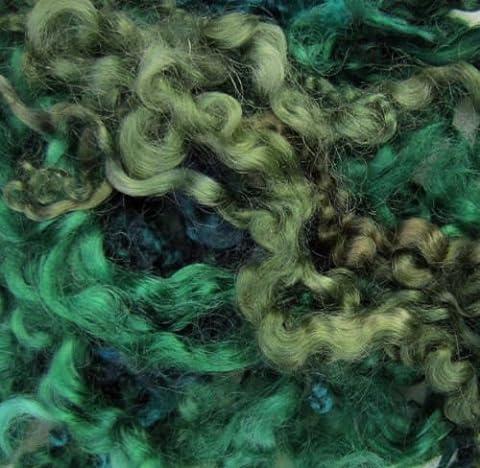 byknitbag HAND Dyed Curly Wool Locks - GREENS - craftsbyknitbag