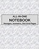 ALL-IN-ONE NOTEBOOK - Hexagon, Isometric, Dot Grid Pages: 4 Types Of Designing Paper In One Book - See The Back Cover For Samples - Gray Marble