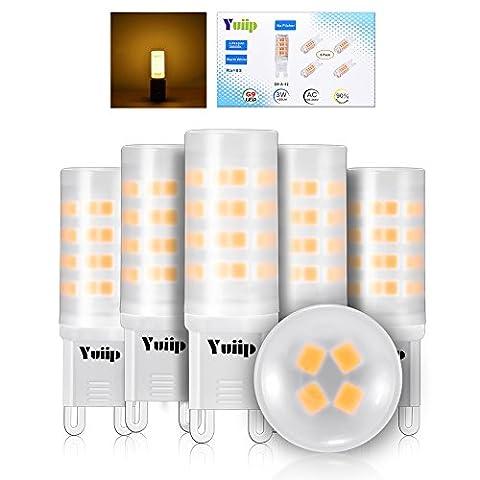Yuiip G9 LED Warmweiß 3000K 3W 420LM 100-265V 360° Kein Flimmern Nicht Dimmbar Milchig Abdeckung led lampen g9 Ersatz für 40W Halogen 5er