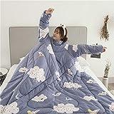 MINI SHOW Multifunktionale, warme, Faule Decke, Multifunktionsdecke, winterwarmes Sofa Office-Quilt, mit Ärmeldecke, kann Schlaf tragen,Blue,120x160CM