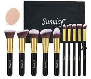 Sunnicy 10 pezzi Set premium di pennelli sintetici Kabuki per il make up per fondotinta liquidi, cosmetici crema & minerali, cipria, eyeliner, per miscelare, blush con pochette in omaggio -nero dorato