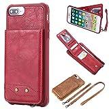 Shinyzone Leder Hülle für iPhone 7 Plus/iPhone 8 Plus mit Handschlaufe & Tragegurt,Premium PU Flip Brieftasche Hülle Design Tropfen beständig mit Kartenhalter Silikon Handyhülle,Rot