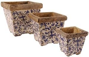 Esschert AC01 Set di 3 vasi da Fiori in Ceramica