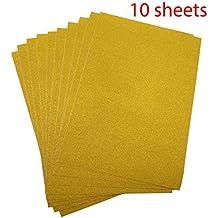 10 Hojas A4 Cartulinas Adhesivas de Colores Brillantes Cartulinas de Colores Papel Pegatina para Manualidades DIY Artcraft Trabajo Álbumes de Recortes Color Dorado