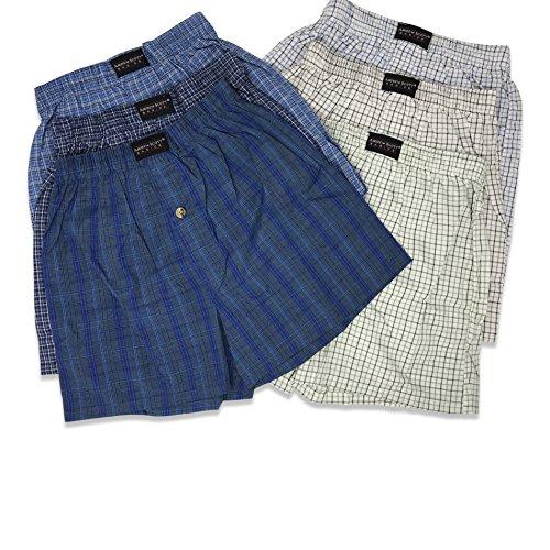 Button-fly Plaid Shorts (Andrew Scott Des jungen Gewebte Tartan Boxer Farben Medium 6-Pack - sortierten Plaids)