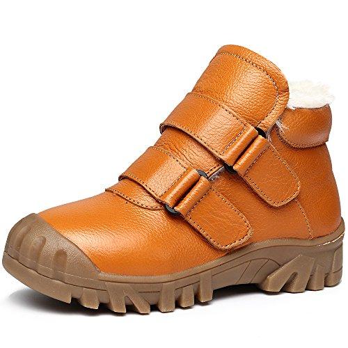 VILOCY Winter Jungen Wasserdicht Leder Schuhe Kinder Schule Sneaker Stiefel Anti-Rutsch Draussen Schuh Braun 34