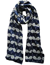 Leaf Floral Design Scarf in Blue Ladies Fashion Scarves