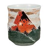 "Kutani-Ware Japanische Teetasse Yunomi Rot Mt. Fuji."" Japanische Keramik Hagiyakiya K4-648"