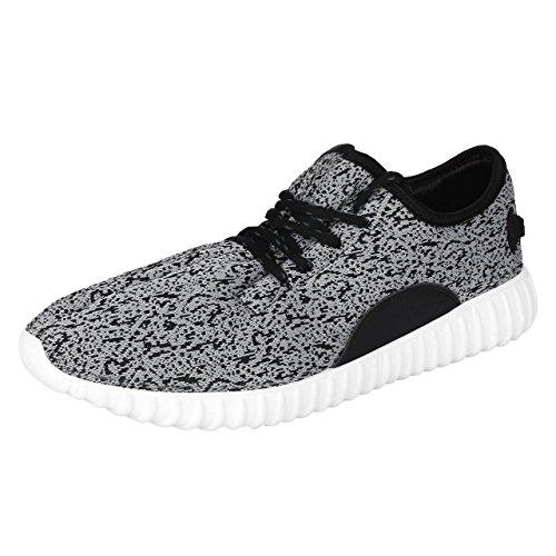 Espoir Men's Lace Up Gery & White Canvas Casual Shoes 7