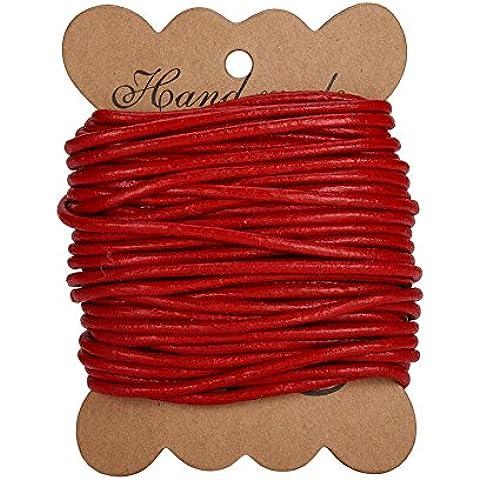 PandaHall Elite 1 Roll Cordones de cuero pulsera de cuero redondo para neckacle abalorios joyeria rojo 3