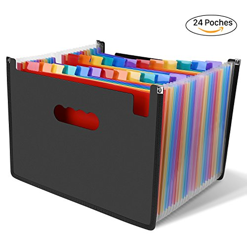 LOETAD Trieur à Soufflets Classeur Rangement Papier Chemise Trieur Plastique A4 Documents Extensible Avec 24 Compartiments
