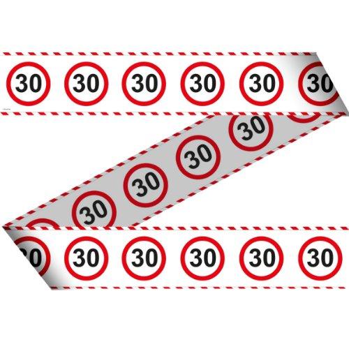 Absperrband Warnband Verkehrsschild 30, rot weiß Länge 15m