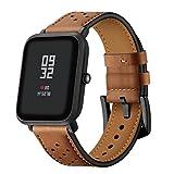 zolimx correas de Reloj de Cuero Perforado Correa de Repuesto para Xiaomi Huami Amazfit Bip Reloj Inteligente (200×20 mm, Marrón)