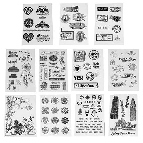 Oulensy Transparenter freier Stempel DIY Silikon-Dichtungen für Scrapbooking/Kartenherstellung/Fotoalbum Dekoration liefern Prägestempel Blatt