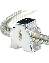 Hoobeads Plata de ley 925 perlas de alfabeto A-Z Letra Charm Apto Para Estilo Europeo Pulseras Collar