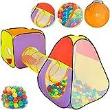 SPIELWERK Bällebad mit Spielzelt inkl. 200 Bällen Netzfenster Ball Ø6cm Tragetasche Spielhaus Kinderzelt Spieltunnel Krabbeltunnel