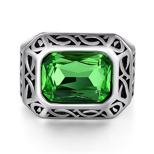 Daxey - Punk Männer Ring Big Green Stone CZ-Finger-Ring Männer Titan Stahl Ring Silber Farbe für Männer Schmuck Vintage Wedding Gift [12]