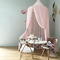 Skyoo Children Bed Canopy Round Dome, nursery decorations, Luxury Mosquito Net, Kids Princess Play Tents, Room Decoration for Baby