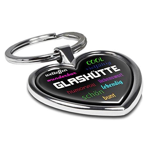 Preisvergleich Produktbild Schlüsselanhänger mit Stadtnamen Glashütte - Motiv Positive Eigenschaften - Herz-Schlüsselanhänger, Stadtschlüsselanhänger, personalisierter Anhänger, Herz-Anhänger, Chrom