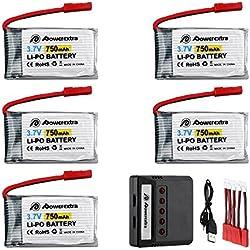 Powerextra 5 Pcs 3.7V 750mAh Lipo Batería (JST Plug) con X5 Cargador para MJX X400 X400W X800 X300C Cielo Viper S670 V950hd V950str HS200W …