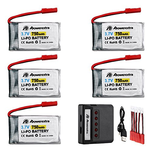 Powerextra 5 Pcs 3.7V 750mAh Lipo Batería (JST Plug) con X5 Cargador para MJX X400 X400W X800 X300C Cielo Viper S670 V950hd V950str HS200W