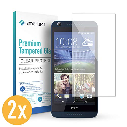 smartect Panzerglas kompatibel mit HTC Desire 626g [2 Stück] - Displayschutz mit 9H Härte - Blasenfreie Schutzfolie - Anti Fingerprint Panzerglasfolie