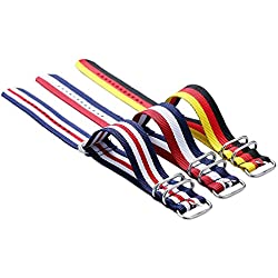 3pc/lot YISUYA 22mm G10 Nato Nylon Striped Red/White/Blue,Yellow/Red/Black Multicolour Replacement Watch Strap Band