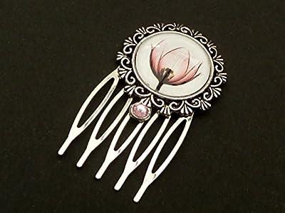 Petit peigne avec fleur en argent rose, accessoires pour cheveux fleurs