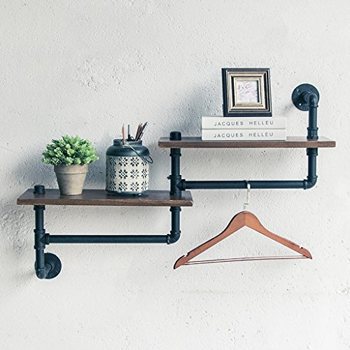 Dekorative Wand-Regale LOFT Retro Eisen Bücherregal Industrial Style Massivholz Wand Hängende Regale Pflanze Display Stand Wall Storage Rack Frame -